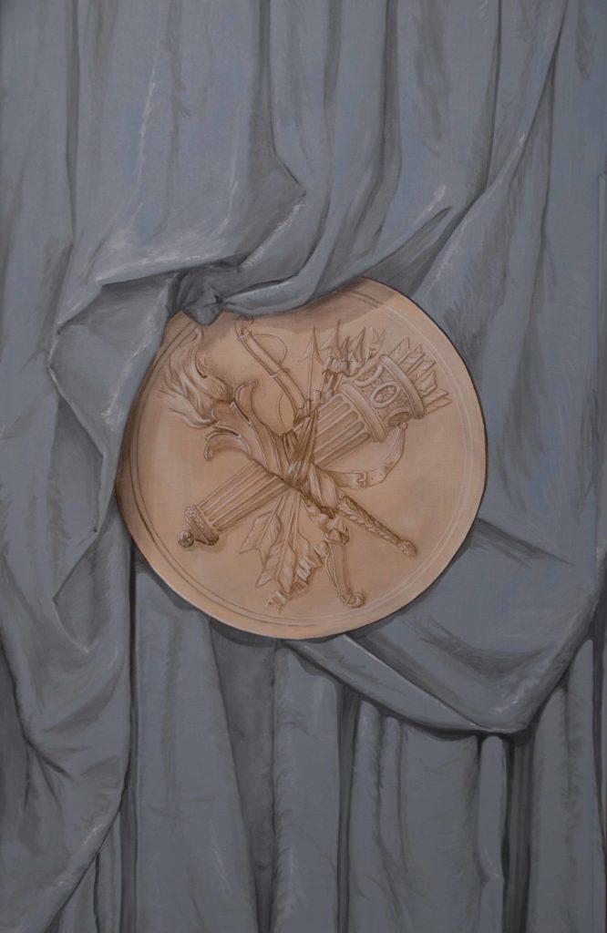Drapé et médaillon Louis XVI en trompe l'oeil